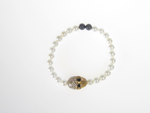 Armband Skull Guld South Sea Shell Vit