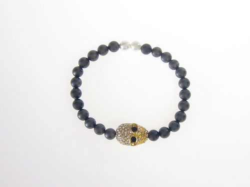 Armband Skull Guld South Sea Shell Svart