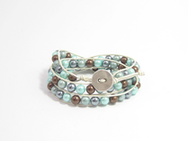 Armband Summer South Sea Shell Turkos/Brun Mix